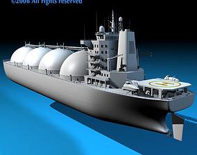 Gas ship 3D model saw animated