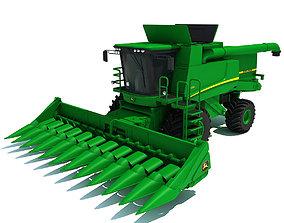 Green John Deere Combine V2 3D model