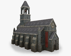 Lowpoly Church with Interior 3D asset