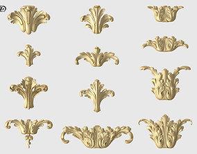 Vertical Acanthus Leaves Set 3D print model
