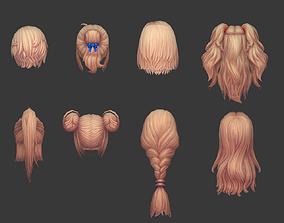 3D asset hair hair style girl short hair long hair dye