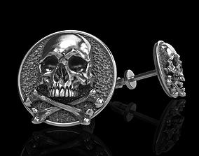 skull earrings studs jewel 3D print model