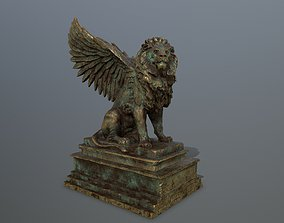 3D asset old gold lion statue