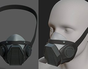 Gas mask helmet 3d model military combat fantasy realtime
