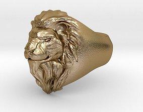 Lion Head Ring silver 3D print model