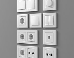 3D European outlets and switches 1 - electrical