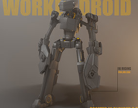 Rigged worker droid robot 3D model