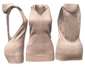3D asset Knitted Sweater Dress with Hood