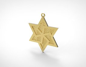 Model 63 David Star Necklace Embossed Texture Dissimilar