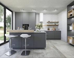 Grey natural kitchen 3D model
