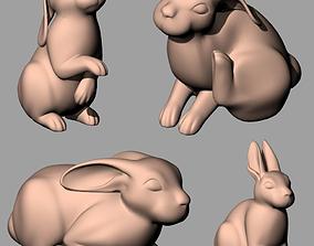 Animal Sculpture Model Four cute Rabbits A148 3D