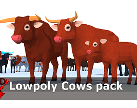 3D asset LowPoly Cows pack