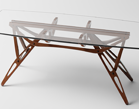 wood Glass Table 3D