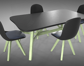 3D PBR Table and chairs cool