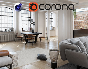 3D Workshop Apartment in London Cinema 4D and Corona
