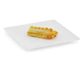 3D model Slice of Sausage Roll on White Plate