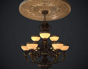 Chandelier nine lights with Ceiling medallion 3D asset