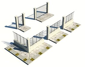 3D model Metal And Stone Fence And Gates