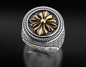 Stylish signet ring with vintage patterns 3D print model