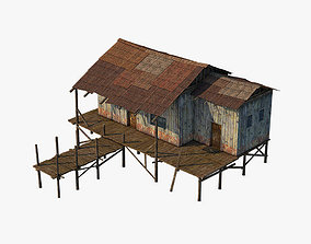 3D asset low-poly Wooden house