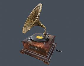 3D asset Vintage Gramophone Animated