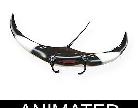 3D model Gaint Oceanic Manta ray Animated Fish Cartoon