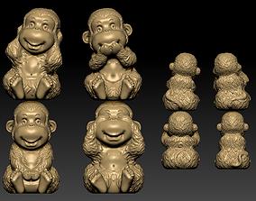 3D printable model Four Monkeys