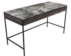 Sunpan - Stamos Desk - Black - Grey Marble 3D model 1