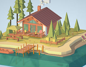 3D model isometric old hunting lodge on the river