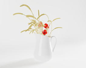 3D model Pitcher with Ears and Poppies