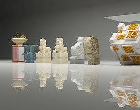 Chinese art objects 3D asset