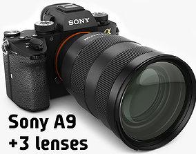 Sony Alpha 9 with three lenses 3D