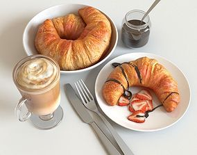 3D model Croissants and Latte