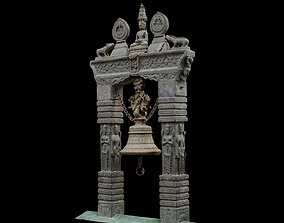 Traditional carved Bell with 3 LOD - Nepal 3D model