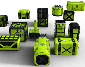 Sci Fi Crates containers FP 3D model