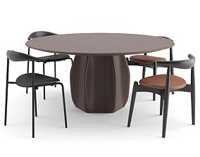 Dinning Chairs by Carl Hansen Asterias Table by 3D 2