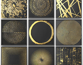 Collection of paintings with gold for walls 2 3D