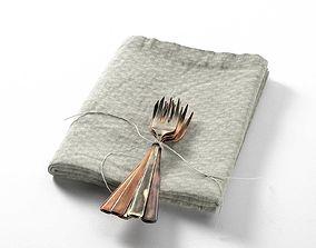 3D Tied Forks on Towel