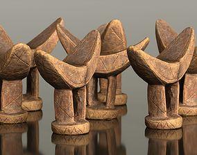 3D asset VR / AR ready Headrest Africa Wood Furniture Prop