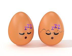 3D model Egg Cracked Emoji N019
