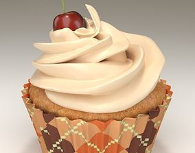 Cupcake with cherry on top 3D