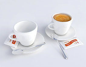 Low poly pack of coffee cups 3D asset
