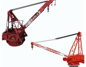 Collection of Cranes on ship 3D