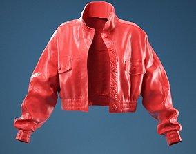 3D model 2 Stripe Jacket Leather Open