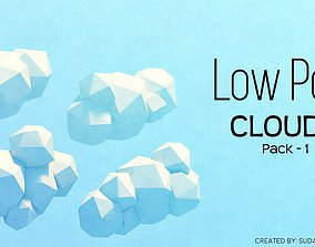 Low Poly Clouds - Pack 1 3D model low-poly
