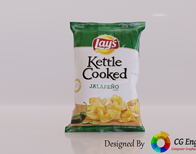 Lays 3D Model - Lays Kettle Cooked Jalapeno low-poly