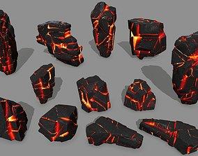 3D asset realtime mountain lava rock