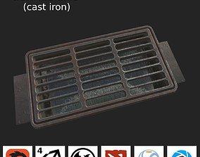 Sewage grate LOW PBR 3D model