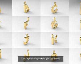 A to Z alphabetical pendants gold 3D model