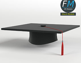 Square academic cap 3D model